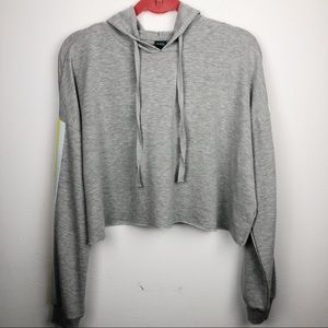Wild Fable Cropped Gray Hoodie Striped Size Medium